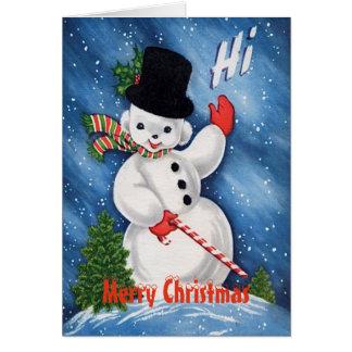 Gullig snögubbegod jul för vintage hälsningskort