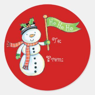 Gullig snögubbejuletiketter runt klistermärke