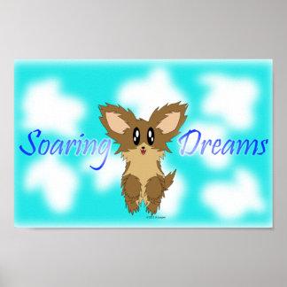 Gullig Soaring affisch för hund för drömScuffy