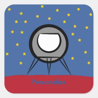 Gullig Spaceship Fyrkantigt Klistermärke