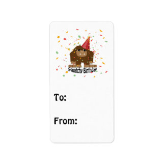 Gullig Squatchy födelsedag Bigfoot Adressetikett