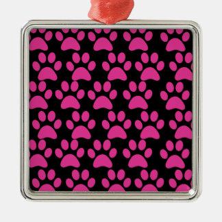 Gullig svart för shock rosa för valphundtass julgransprydnad metall