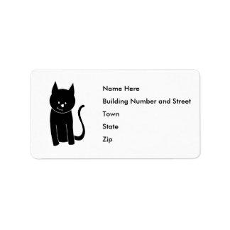 Gullig svart katt adressetikett