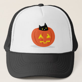 Gullig svart katt i den jack o lanternHalloween Truckerkeps