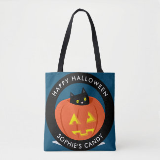 Gullig svart katt i jack o lantern Halloween Tygkasse