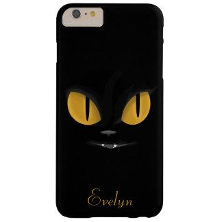 Gullig svart katt med ljusa gula ögon barely there iPhone 6 plus skal