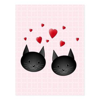 Gullig svarta katter med hjärtor, på bleken - vykort