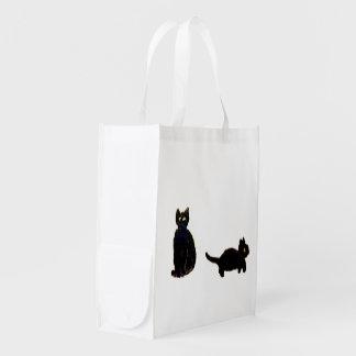 Gullig svarta katterkonst återanvändbar påse