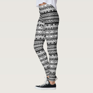Gullig svartvit mönsterdamasker leggings
