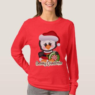Gullig t-skjorta för julhelgdagpingvin
