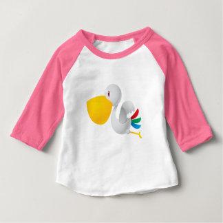 Gullig T-tröja för Raglan för pelikanfågel Tshirts