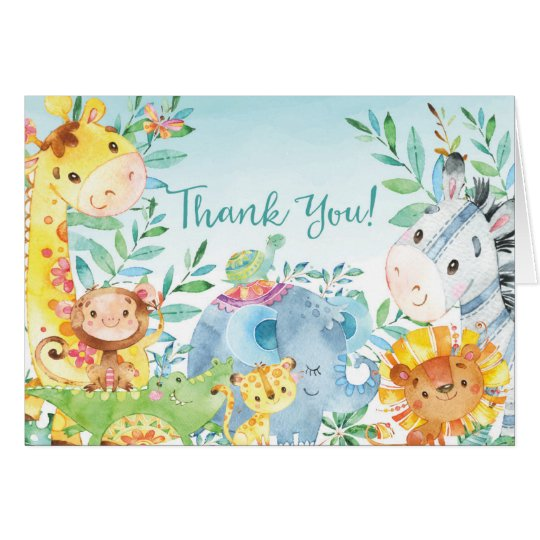 Gullig tackkort för Safaridjungelbaby shower OBS Kort
