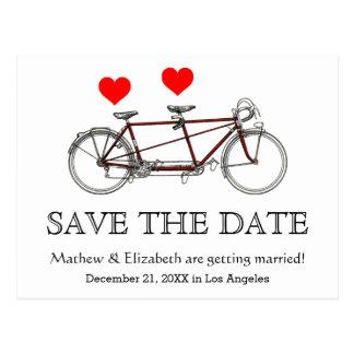 Gullig tandem cykelbröllop spara datum för vintage vykort