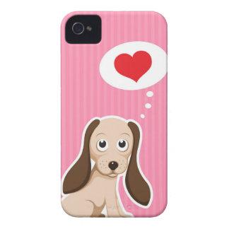 Gullig tecknad hund med för hjärta blackberry iPhone 4 hud