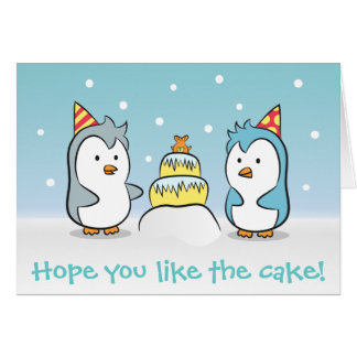 Gullig tecknad - pingvinfödelsedagfirande hälsnings kort