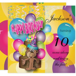 Gullig tecknadapa - barns födelsedagparty fyrkantigt 13,3 cm inbjudningskort