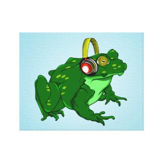 Gullig tecknadBullfrog som ha på sig hörlurar Canvastryck