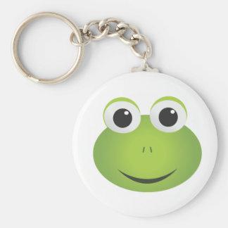 Gullig tecknadgroda Keychain Rund Nyckelring