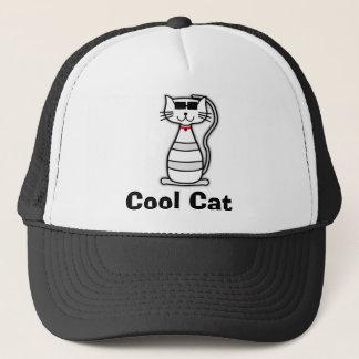 Gullig tecknadkatt för kall katt med solglasögon truckerkeps