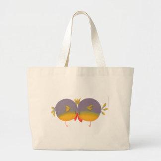 Gullig tecknadlove birds tote bag