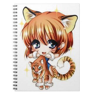Gullig tigerkärlekanteckningsbok anteckningsbok med spiral