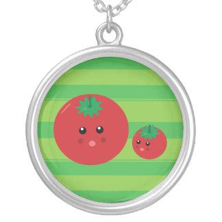 Gullig tomat silverpläterat halsband