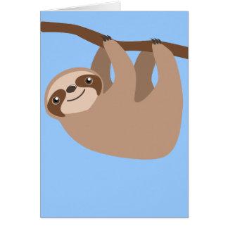 Gullig Tre-Toed Sloth Hälsningskort