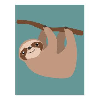 Gullig Tre-Toed Sloth Vykort