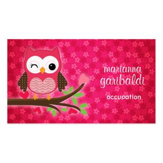 Gullig uggla för shock rosa flickaktigt set av standard visitkort