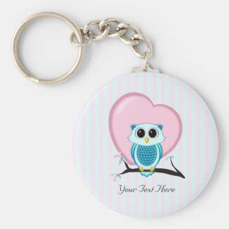 Gullig uggla- och hjärtamall Keychain Rund Nyckelring