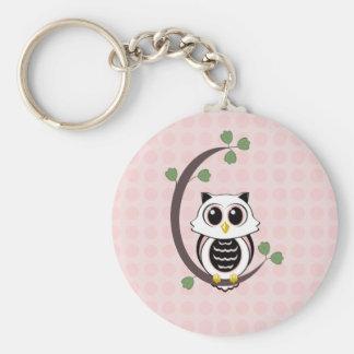 Gullig uggla och polka dots Keychain Rund Nyckelring