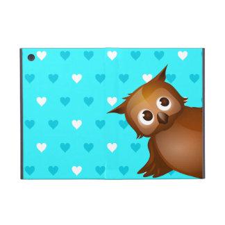 Gullig uggla på bakgrund för blåtthjärtamönster iPad mini skydd