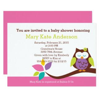 Gullig UGGLA på en baby shower för grenflickadjur 12,7 X 17,8 Cm Inbjudningskort