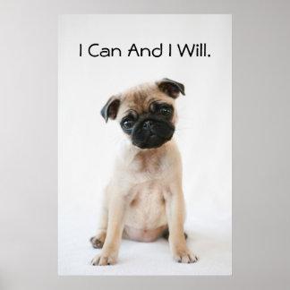 Gullig ung mopshund poster