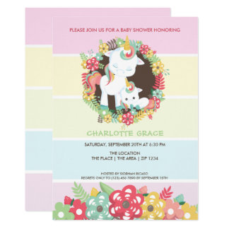 Gullig Unicornpersonligbaby shower 12,7 X 17,8 Cm Inbjudningskort
