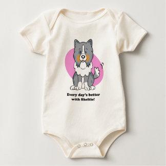 Gullig utslagsplats för tecknad hundSheltie baby Sparkdräkt