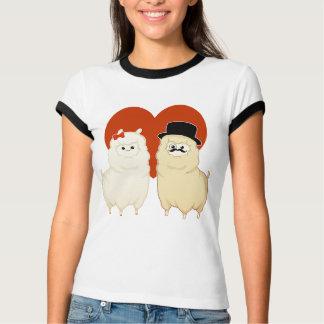Gullig utsmyckad Alpaca kopplar ihop T Shirt