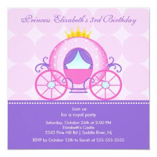 Gullig vagn för Princess födelsedagsfest inbjudan