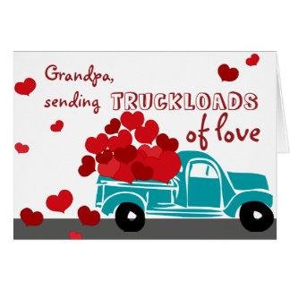 Gullig valentinkortlastbil för morfar hälsningskort