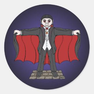 Gullig vampyr runt klistermärke