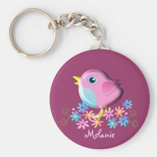 Gullig vårbabyfågel med känd keychain rund nyckelring