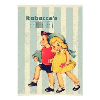 gullig vintage lurar den retro kort för inbjudningar