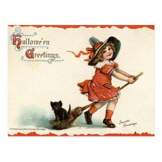 Gullig vintagehäxa på den kvastHalloween vykortet Vykort