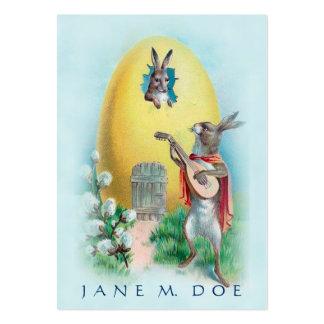 Gullig vintagekonst - kaninSerenade, datera som är Set Av Breda Visitkort