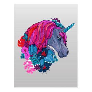 Gullig violett magisk Unicornfantasiillustration Vykort