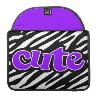 Gullig violett purpurfärgad zebra ränder MacBook pro sleeves
