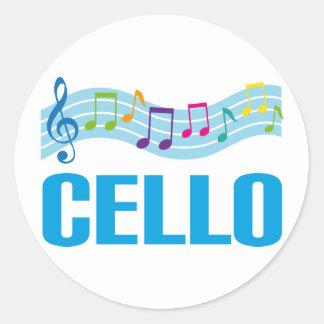 Gullig violoncellmusik bemannar blått runt klistermärke