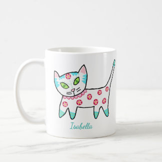 Gullig vitkattunge och namn kaffemugg