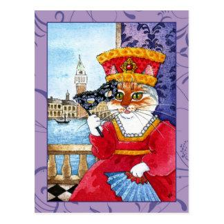 Gullig vykort för för kattVenedig karneval eller