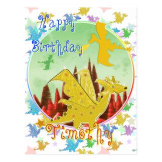 Gullig vykort för tecknaddrakegrattis på födelseda